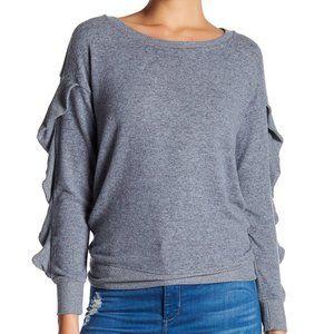 Harlowe & Graham Grey Ruffle Sweater